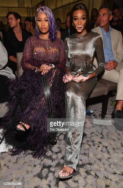 Nicki Minaj and Winnie Harlow attend the Daily Front Row's Fashion Media Awards presented by ZadigVoltaire Sunglass Hut Moroccan Oil LIM Fiji on...