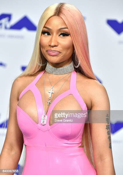 Nicki Minaj arrive at the 2017 MTV Video Music Awards at The Forum on August 27 2017 in Inglewood California