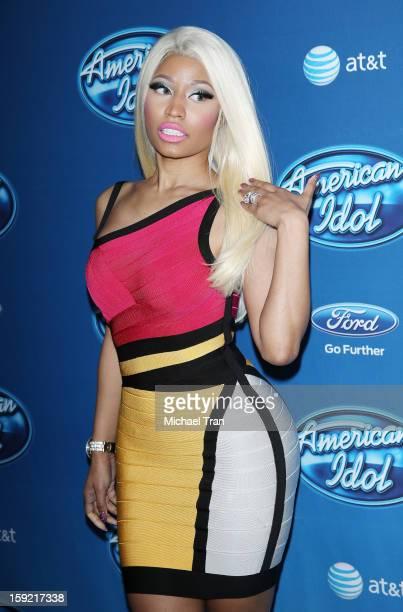 Nicki Minaj arrives at American Idol Season 12 premiere event held at Royce Hall UCLA on January 9, 2013 in Westwood, California.