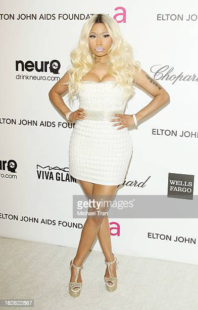 Nicki Minaj arrives at the 21st Annual Elton John AIDS Foundation Academy Awards viewing party held at West Hollywood Park on February 24 2013 in...