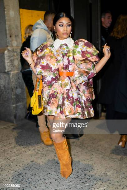 Nicki Minaj arrives at the Marc Jacobs fashion show at the Park Avenue Armory on February 12 2020 in New York City