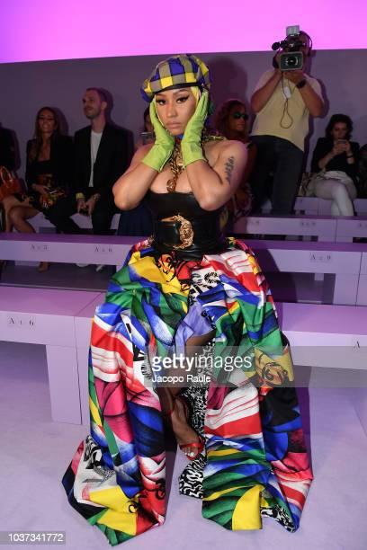 Nicki Minaj arrives at the Versace show during Milan Fashion Week Spring/Summer 2019 on September 21 2018 in Milan Italy
