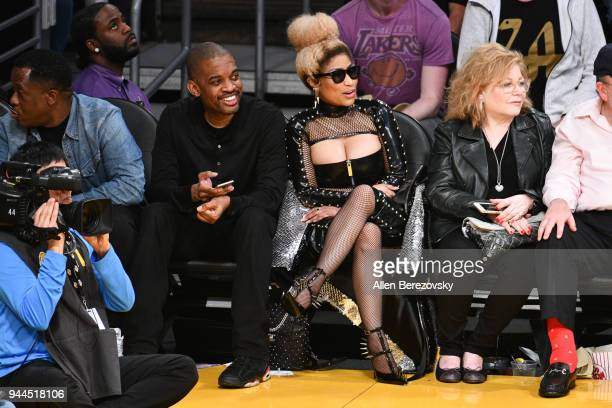 Nicki Minaj attends a basketball game between the Los Angeles Lakers and the Houston Rockets at Staples Center on April 10 2018 in Los Angeles...