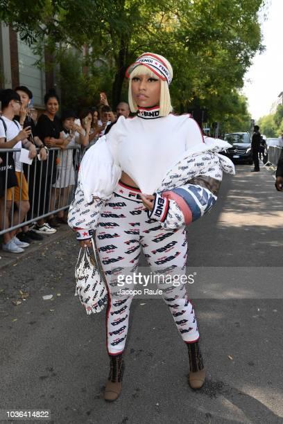 Nicki Minaj attends the Fendi show during Milan Fashion Week Spring/Summer 2019 on September 20 2018 in Milan Italy
