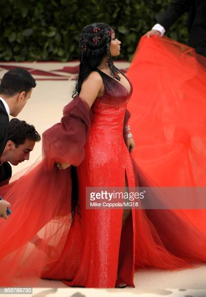 Nicki Minaj attends the Heavenly Bodies: Fashion & The Catholic Imagination Costume Institute Gala at The Metropolitan Museum of Art on May 7, 2018...