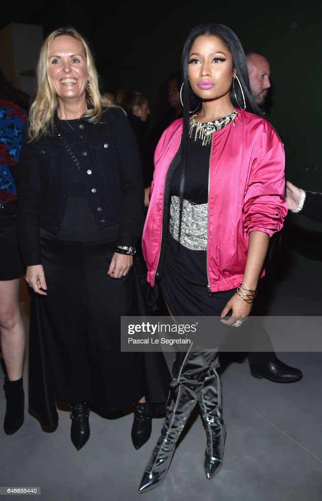 Nicki Minaj (R) attends the H&M Studio show as part of the Paris Fashion Week on March 1, 2017 in Paris, France.