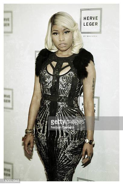 Nicki Minaj backstage at Herve Leger By Max Azria fashion show during MercedesBenz Fashion Week Spring 2014 on September 7 2013 in New York City