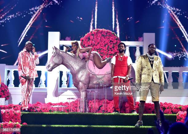YG Nicki Minaj Big Sean and 2 Chainz perform onstage at the 2018 BET Awards at Microsoft Theater on June 24 2018 in Los Angeles California