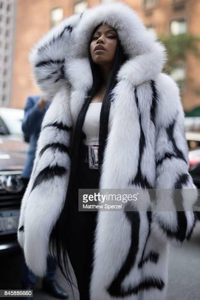 Nicki Minaj is seen attending Oscar de la Renta during New York Fashion Week wearing Oscar De La Renta on September 11 2017 in New York City