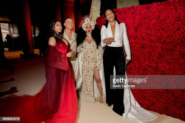 Nicki Minaj Jeremy Scott Cardi B and Tiffany Haddish attend the Heavenly Bodies Fashion The Catholic Imagination Costume Institute Gala at The...