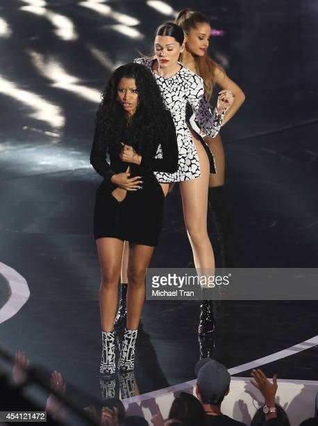 Nicki Minaj Jessie J and Ariana Grande perform onstage during the 2014 MTV Video Music Awards held at The Forum on August 24 2014 in Inglewood...