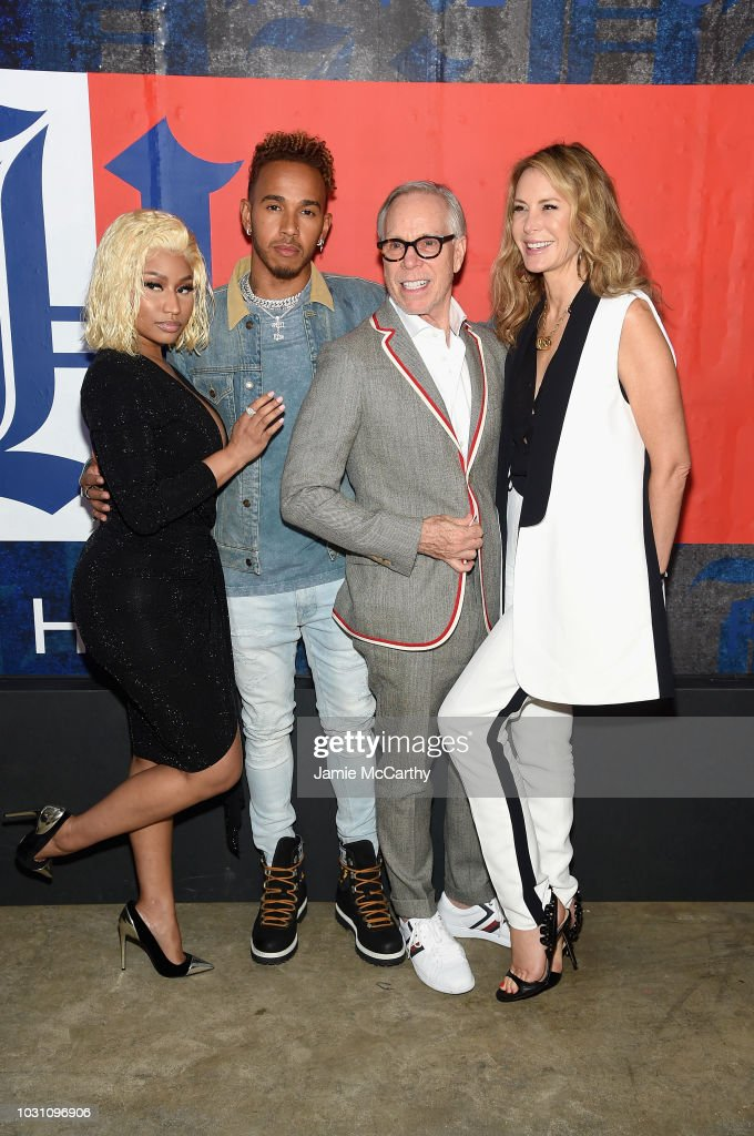 Nicki Minaj, Lewis Hamilton, Tommy Hilfiger and Dee Hilfiger attend the TommyXLewis Launch Party at Public Arts on September 10, 2018 in New York City.