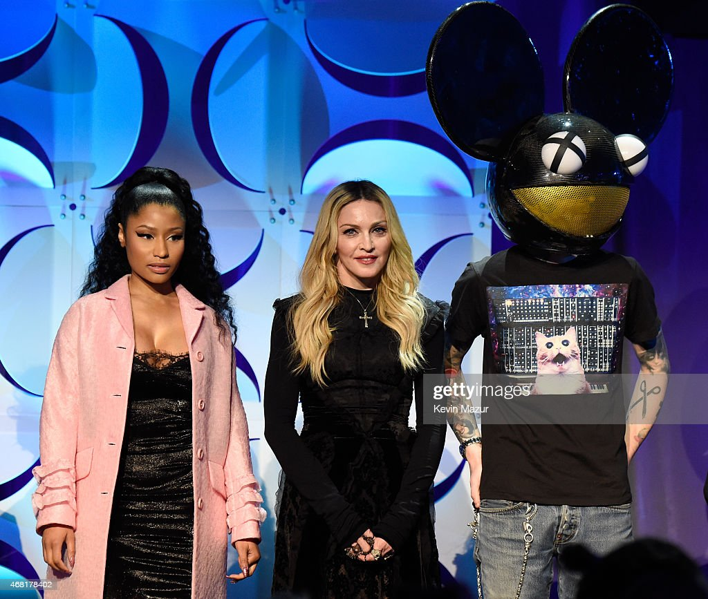 Nicki Minaj, Madonna and Deadmau5 attend the Tidal launch event #TIDALforALL at Skylight at Moynihan Station on March 30, 2015 in New York City.