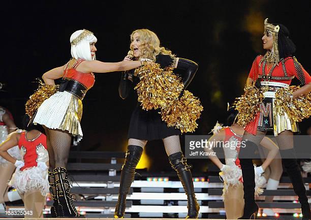 Nicki Minaj, Madonna and M.I.A. Perform during the Bridgestone Super Bowl XLVI Halftime Show at Lucas Oil Stadium on February 5, 2012 in...