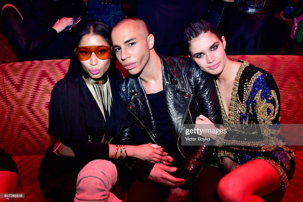 Nicki Minaj, Olivier Rousteing, and Sara Sampaio attend Balmain aftershow party as part of Paris Fashion Week Womenswear Fall/Winter 2017/2018 at Manko Paris on March 2, 2017 in Paris, France.