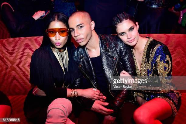 Nicki Minaj Olivier Rousteing and Sara Sampaio attend Balmain aftershow party as part of Paris Fashion Week Womenswear Fall/Winter 2017/2018 at Manko...