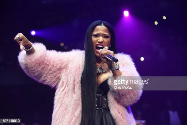 Nicki Minaj performs during a surprise appearance at the Hot 1079 Birthday Bash at Philips Arena on June 17 2017 in Atlanta Georgia