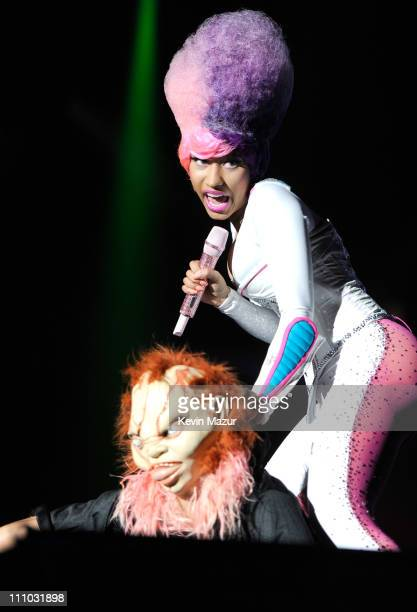 Nicki Minaj performs during Lil Wayne's I Am Still Music tour at Nassau Veterans Memorial Coliseum on March 28 2011 in Uniondale New York