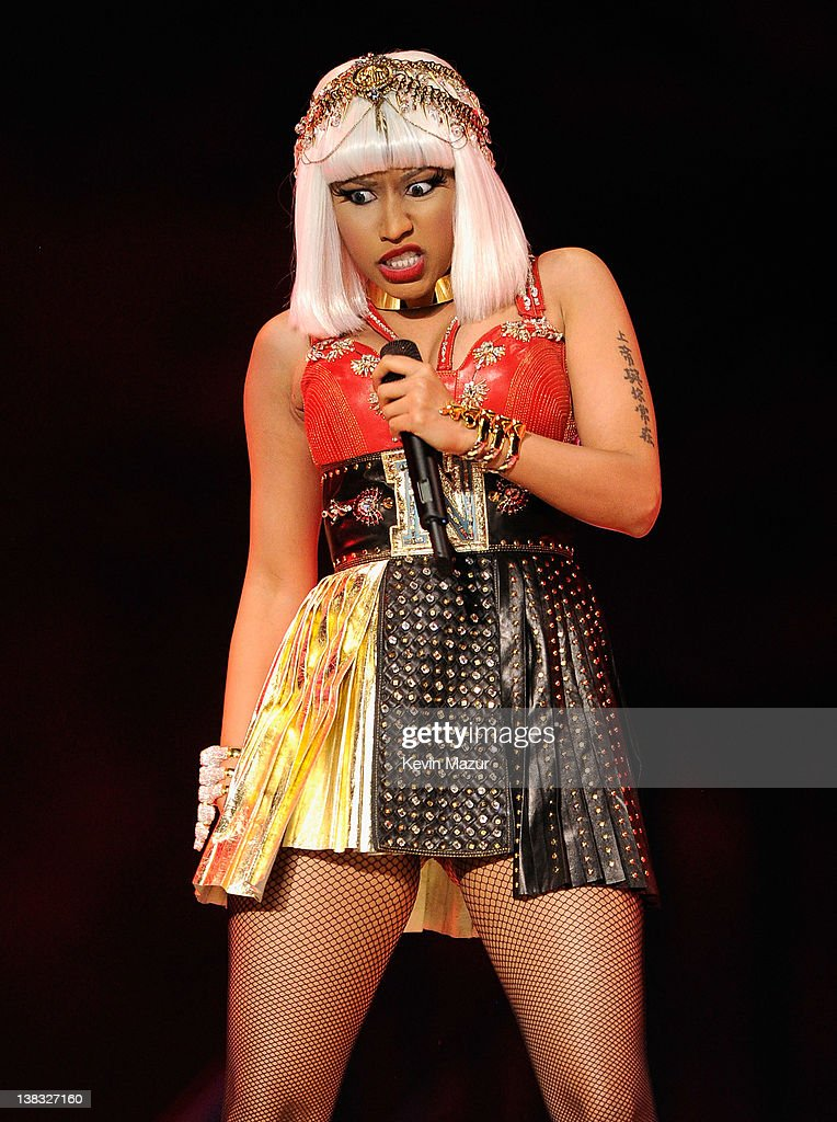 Nicki Minaj performs during the Bridgestone Super Bowl XLVI Halftime Show at Lucas Oil Stadium on February 5, 2012 in Indianapolis, Indiana.