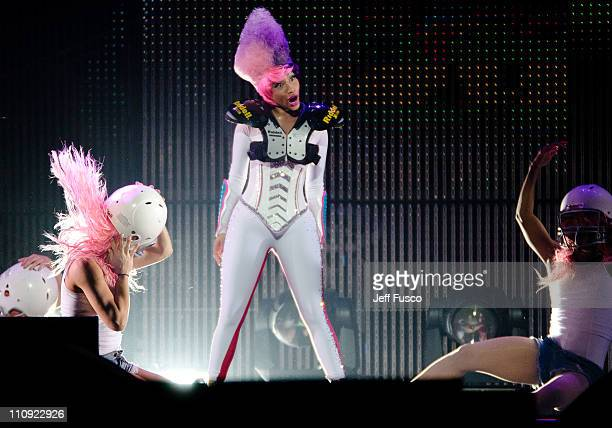 Nicki Minaj performs during the ' I Am Still Music' Tour at the Wells Fargo Center on March 26 2011 in Philadelphia Pennsylvania