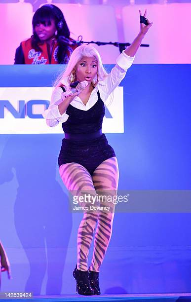 Nicki Minaj performs during the Nokia Lumia 900 launch in Times Square on April 6 2012 in New York City