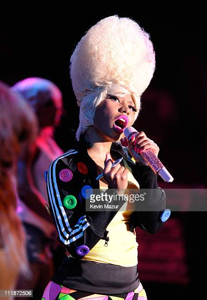 Nicki Minaj performs on stage at the launch of the Casio New TRYX digital camera at Best Buy Theater on April 7 2011 in New York City