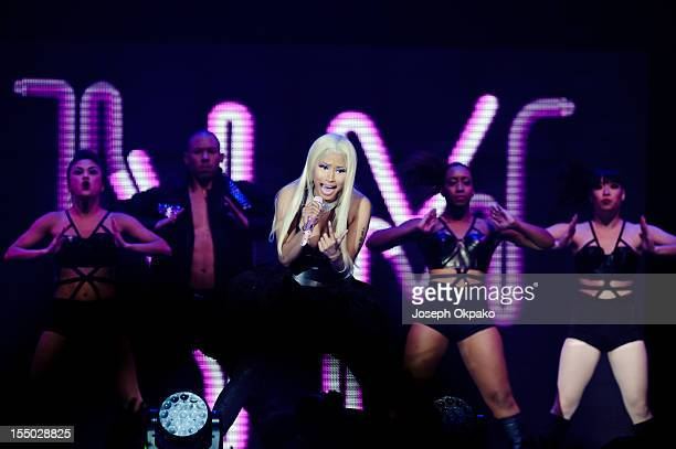 Nicki Minaj performs on stage during the London Leg of Pink Friday Reloaded tour 2012 at 02 Arena on October 30 2012 in London England