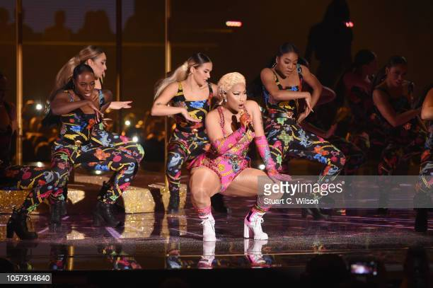 Nicki Minaj performs on stage during the MTV EMAs 2018 at Bilbao Exhibition Centre on November 4 2018 in Bilbao Spain