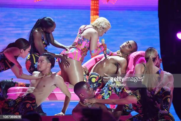 Nicki Minaj performs on stage during the MTV EMAs 2018 on November 4 2018 in Bilbao Spain