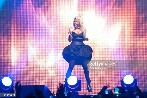 Nicki Minaj performs on stage during the opening night of the Roman Reloaded European 2012 Arena tour at Nottingham Capital FM Arena on October 21...