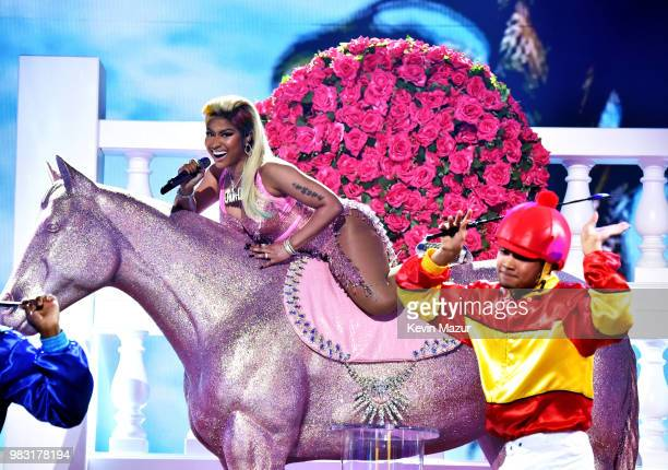 Nicki Minaj performs onstage at the 2018 BET Awards at Microsoft Theater on June 24 2018 in Los Angeles California