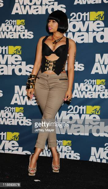Nicki Minaj poses in the press room during the 2011 MTV Movie Awards at Universal Studios' Gibson Amphitheatre on June 5 2011 in Universal City...