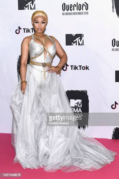 Nicki Minaj poses in the Winners room after winning Best Hip Hop Award during the MTV EMAs 2018 at Bilbao Exhibition Centre on November 4 2018 in...