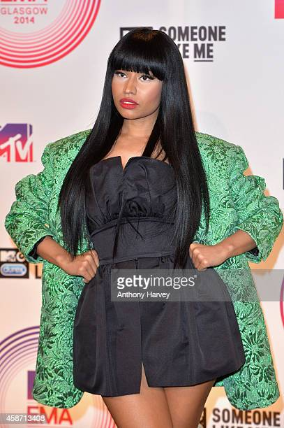 Nicki Minaj poses in the winners room at the MTV EMA's 2014 after winning the award for Best Hip Hop at The Hydro on November 9 2014 in Glasgow...