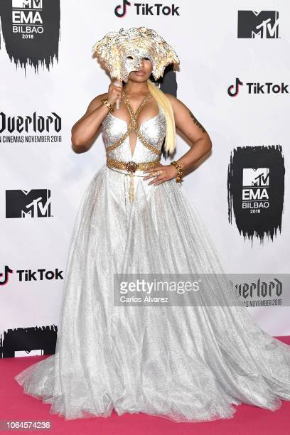 Nicki Minaj poses in the Winners room during the MTV EMAs 2018 on November 04 2018 in Bilbao Spain