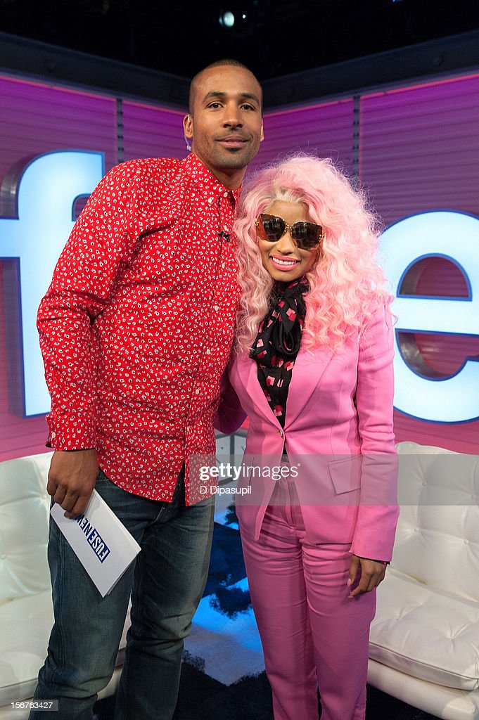 Nicki Minaj (R) poses with Matte Babel during her visit to fuse's 'Top 20 Countdown' at fuse Studios on November 20, 2012 in New York City.