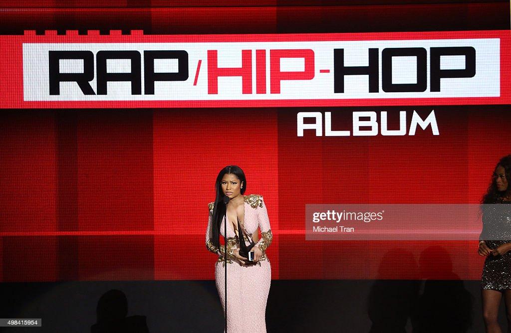 Nicki Minaj speaks onstage at the 2015 American Music Awards at Microsoft Theater on November 22, 2015 in Los Angeles, California.