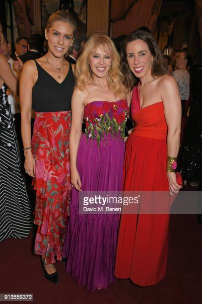 Nicki Shields Kylie Minogue and Ana Aznar Botella attend the official gala dinner on the eve of the first all electric ABB FIA Formula E race at...