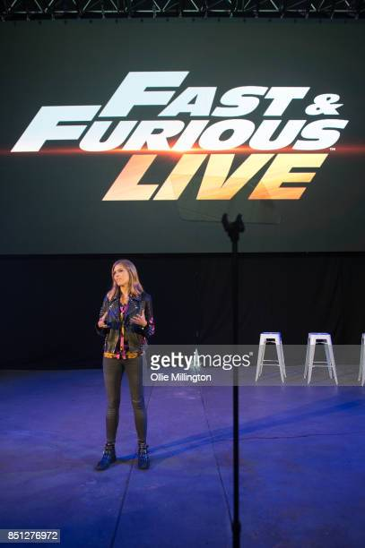 Nicki Shields talking during the 'Fast Furious Live' media launch day event on September 21 2017 at the Fast Furious 'Fast Camp' live rehersal space...