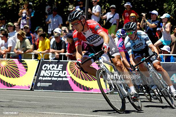Nicki Sorensen of Denmark rides during the final stage of the 2011 Tour Down Under in Adelaide on January 23 2011 Australia's Cameron Meyer of the...