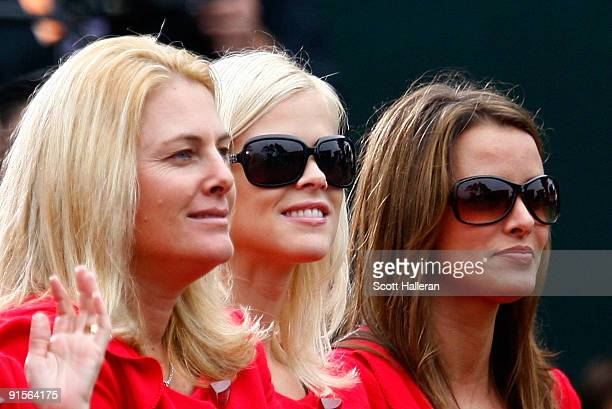 Nicki Stricker Elin Woods and Yvette Prieto of the the USA Team are seen during the Opening Ceremonies of The Presidents Cup at Harding Park Golf...