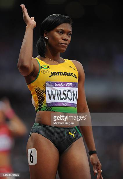Nickiesha Wilson of Jamaica looks on after she competes in the Women's 400m Hurdles semifinal on Day 10 of the London 2012 Olympic Games at the...