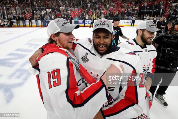 Nicklas Backstrom and Devante SmithPelly of the Washington Capitals celebrate their teams 43 win over the Vegas Golden Knights in Game Five of the...