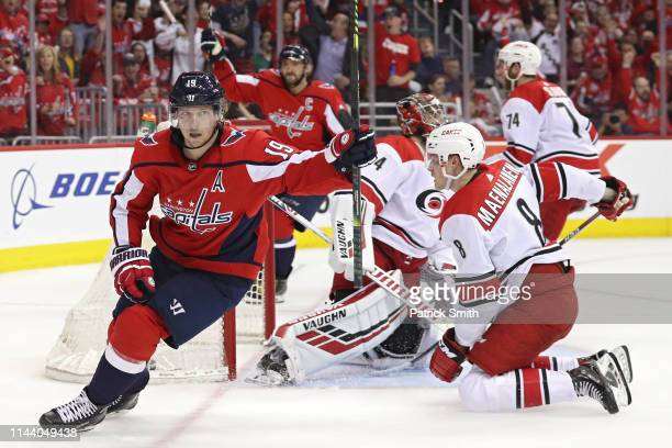 Nicklas Backstrom of the Washington Capitals celebrates after scoring a goal against the Carolina Hurricanes in the second period in Game Five of the...