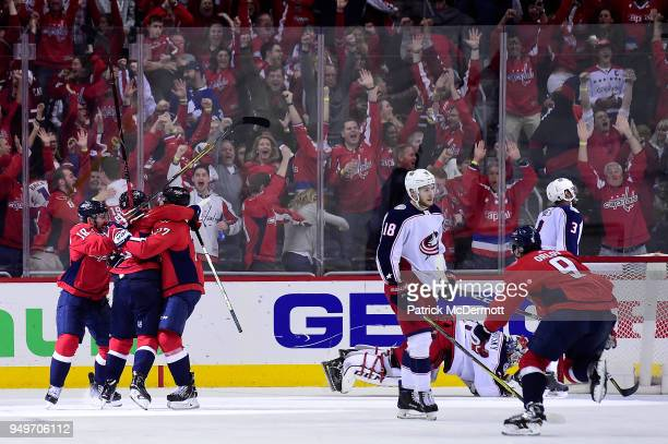 Nicklas Backstrom of the Washington Capitals celebrates after scoring the gamewinning goal in overtime against the Columbus Blue Jackets in Game Five...