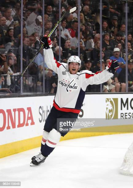 Nicklas Backstrom of the Washington Capitals celebrates his firstperiod goal against the Vegas Golden Knights in Game One of the 2018 NHL Stanley Cup...