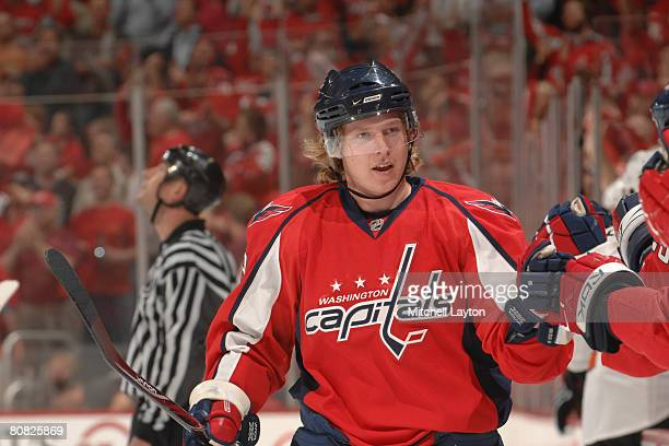 Nicklas Backstrom of the Washington Capitals celebrates scoring his teams first goal during game seven of the 2008 NHL Eastern Conference...