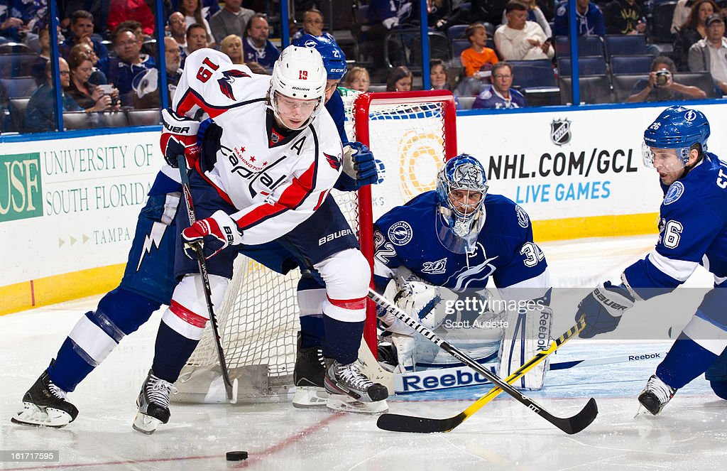 Nicklas Backstrom #19 of the Washington Capitals controls the puck close to the net against the Tampa Bay Lightning in the second period of the game at the Tampa Bay Times Forum on February 14, 2013 in Tampa, Florida.