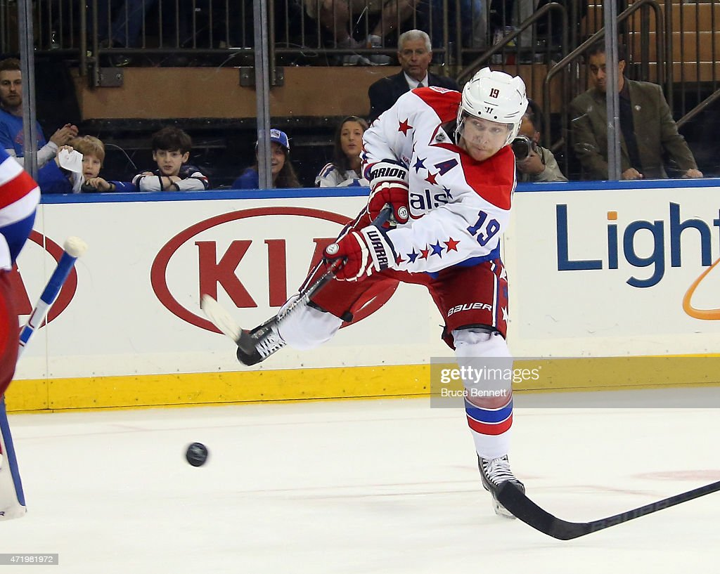 Nicklas Backstrom #19 of the Washington Capitals passes the puck during the game against the New York Rangers in Game Two of the Eastern Conference Semifinals during the 2015 NHL Stanley Cup Playoffs at Madison Square Garden on May 2, 2015 in New York City. The Rangers defeated the Capitals 3-2.
