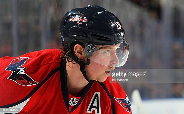 Nicklas Backstrom of the Washington Capitals prepares for a faceoff against the Buffalo Sabres during an NHL game on January 16 2016 at the First...